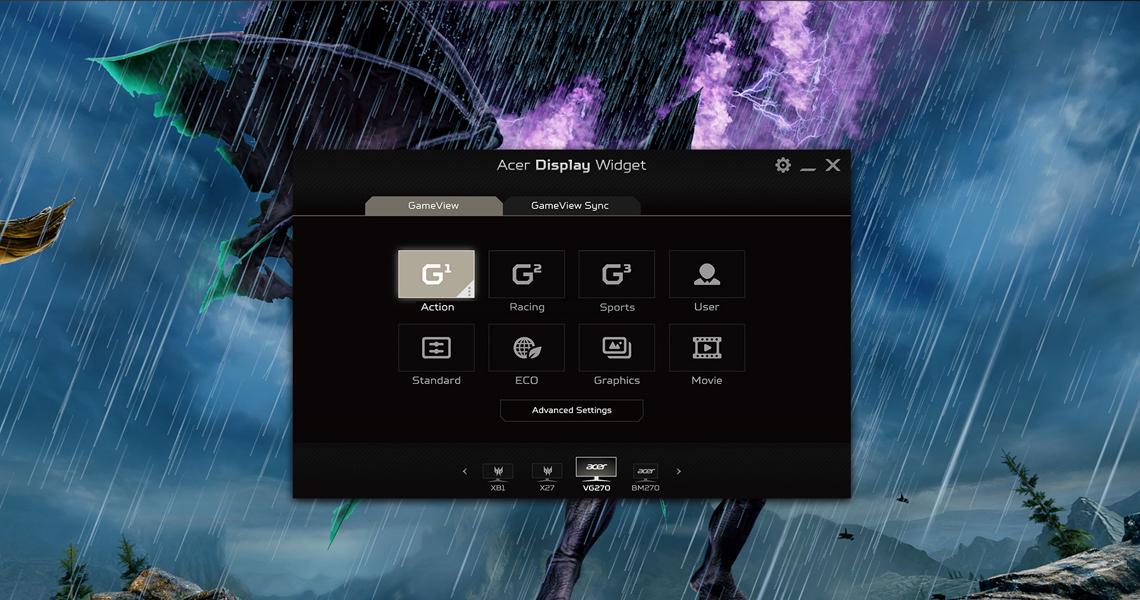 Der Bildschirm für Spieler ACER Nitro VG0 VG270UP 68,6 cm 27 Zoll TFT