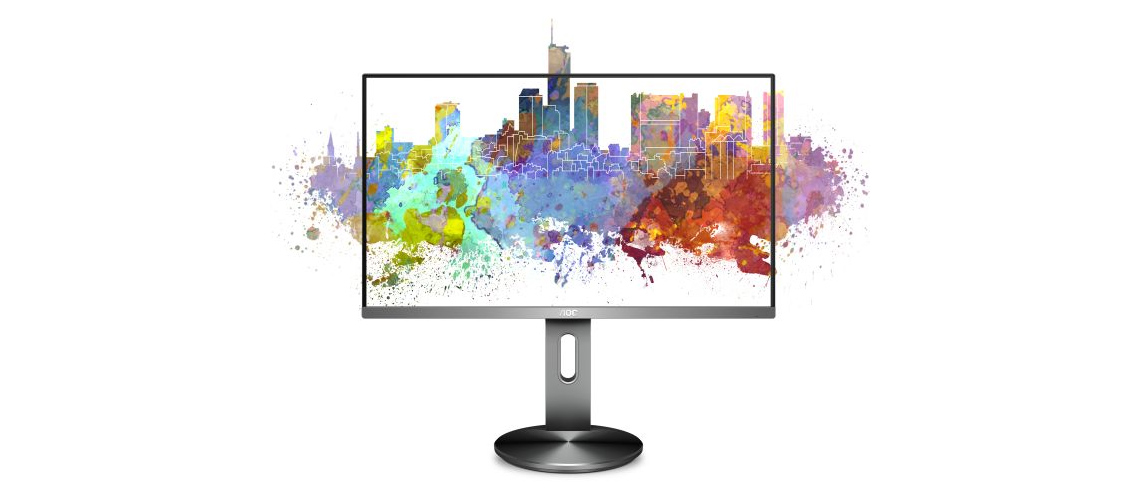 Rahmenlose Konstruktion des Monitors