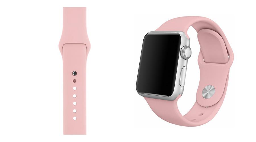 Blassrosa Silikon-Uhrband Apple Watch 38 mm