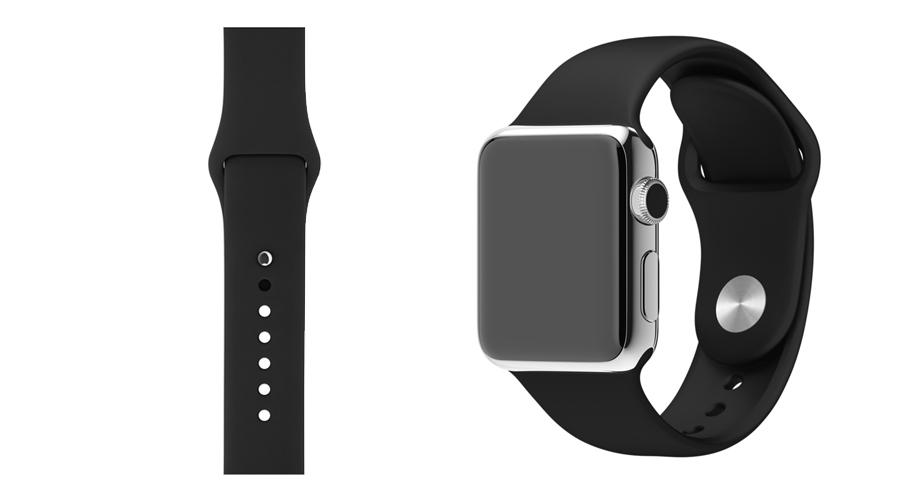Schwarz-Grau Silikon-Uhrband Apple Watch 38 mm