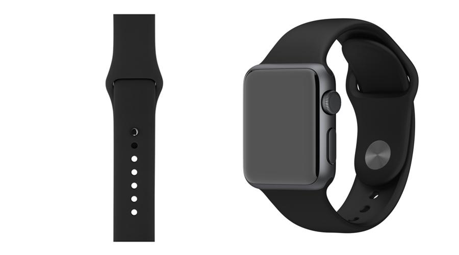 Schwarzstahl Silikon-Uhrband Apple Watch 38 mm