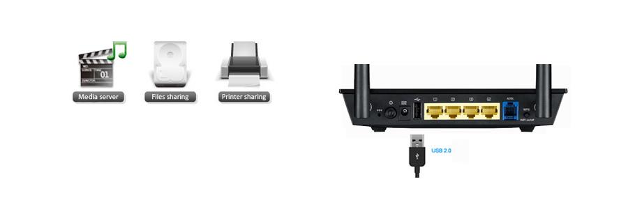 Router mit USB 2.0-Anschluss