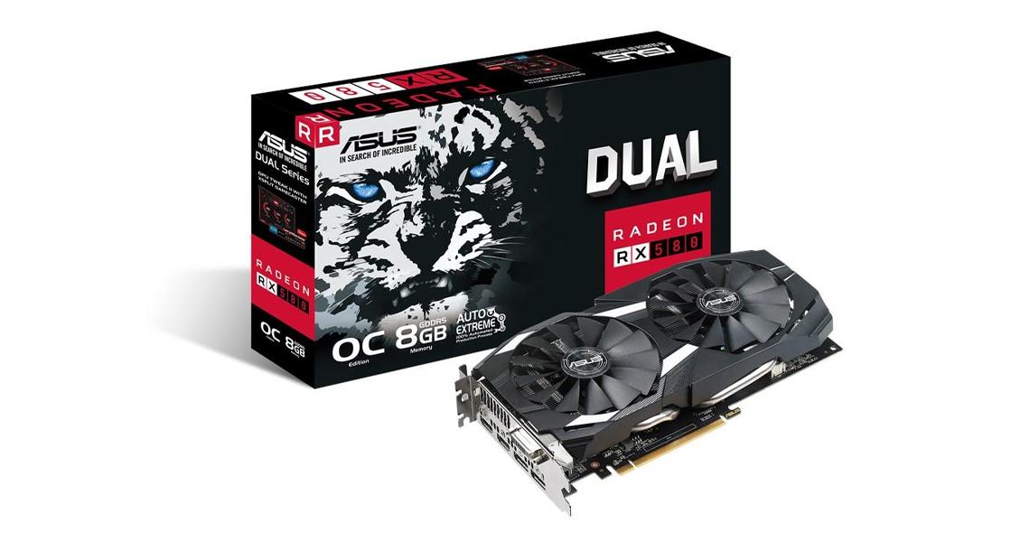 Die Grafikkarte mit den Wing Blade Lüftern ASUS Radeon OC 8GB GDDR5 DUAL RX580 O8G