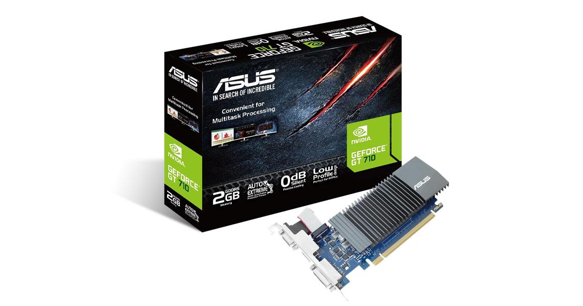 Die Grafikkarte mit 0dB-Kühldesign ASUS GeForce 2GB GDDR5 GT710-SL-2GD5