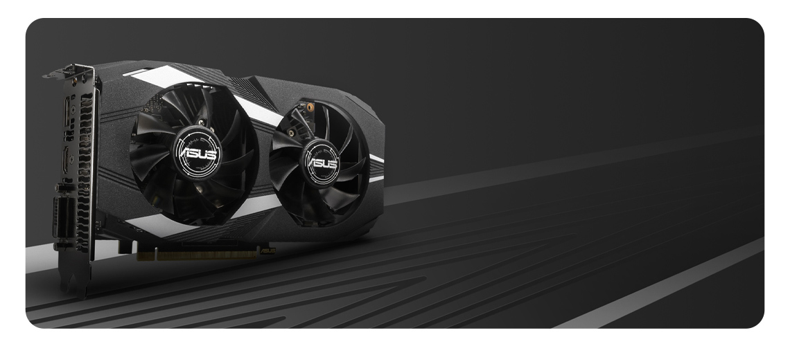 Die doppelte Grafikkarte mit zwei Lüftern und PCB-Komponenten ASUS GeForce 4GB GDDR5 DUAL-GTX1650-4G