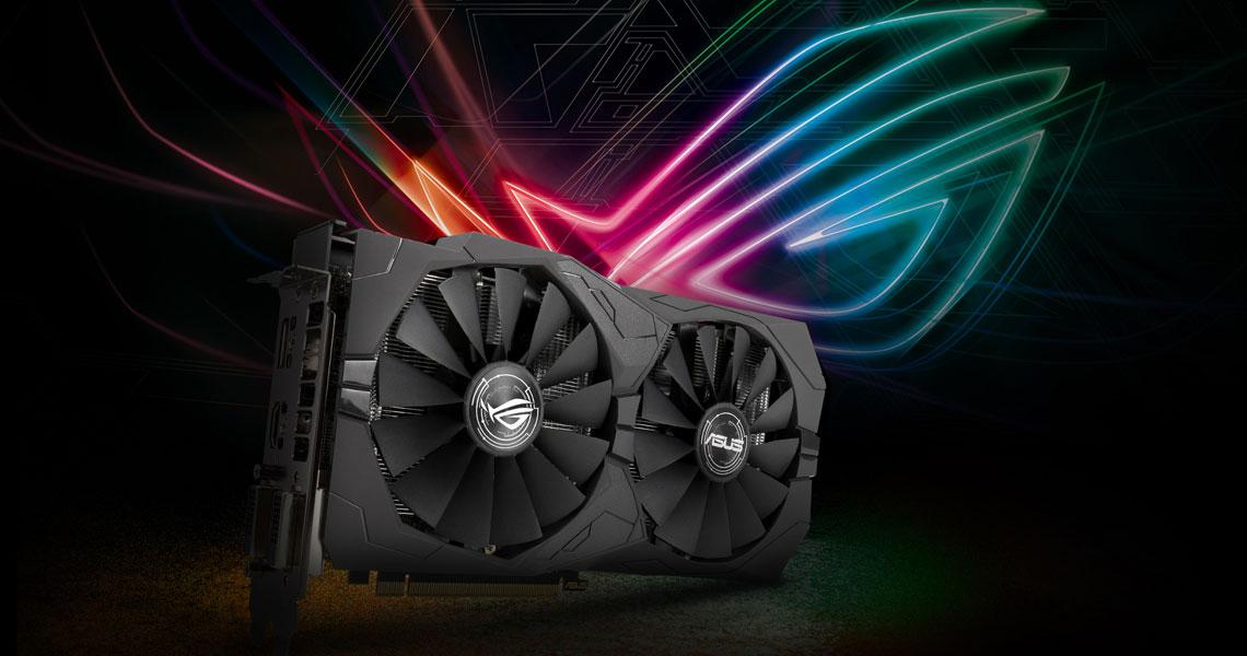 Die Grafikkarte mit einem Wing Blade Lüfterdesign ASUS ROG Strix Radeon RX 570 OC 8GB GDDR5