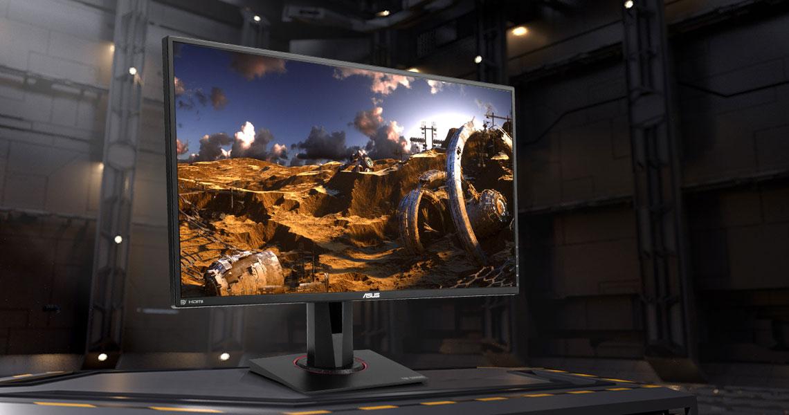 Der Monitor mit Bildwiederholfrequenz von 165Hz und einer Reaktionszeit 0,4ms ASUS TUF Gaming VG27BQ 68,6 cm 27 Zoll TFT