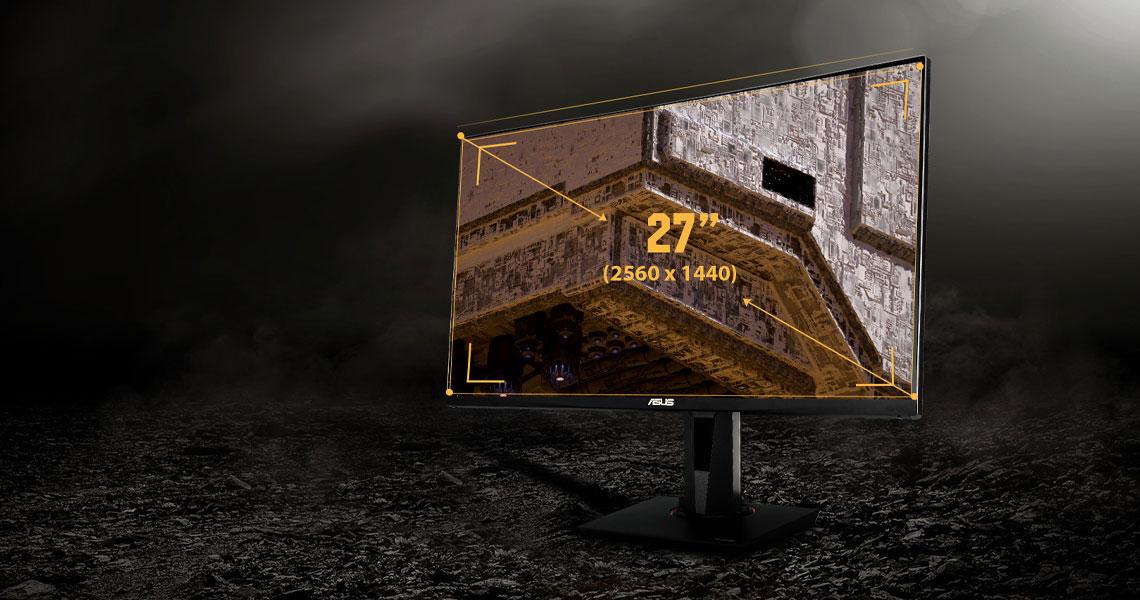 Der Bildschirm mit WQHD Panel 2560 x 1440 ASUS TUF Gaming VG27BQ 68,6 cm 27 Zoll TFT