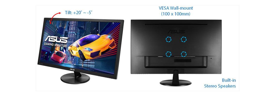 Der Bildschirm mit Kontrastverhältnis von 100.000.000:1 und SplendidPlus VivdPixel Technologien ASUS VP278QG 68,6 cm 27 Zoll TFT