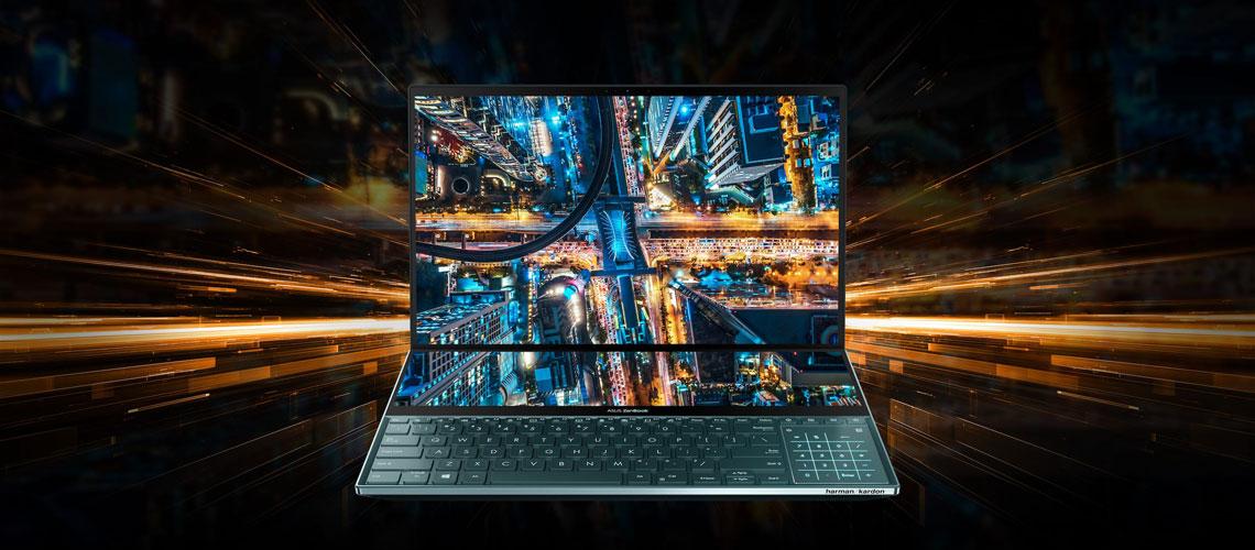 Das Notebook mit Designdetail ASUS Pro Duo UX581LV H2014R 15,6 Zoll Display i9 10980HK 32 GB 1 TB SSD RTX2060 Win 10 Pro Celestial Blue