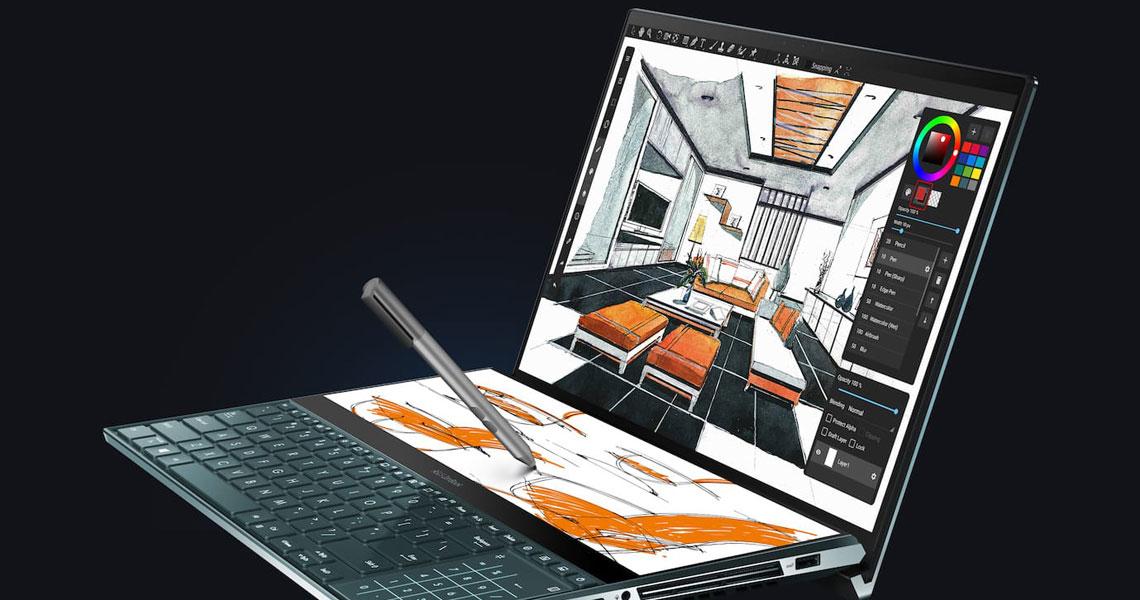 Das Laptop mit ASUS Pen II Pro Duo UX581LV H2014R 15,6 Zoll Display i9 10980HK 32 GB 1 TB SSD RTX2060 Win 10 Pro Celestial Blue