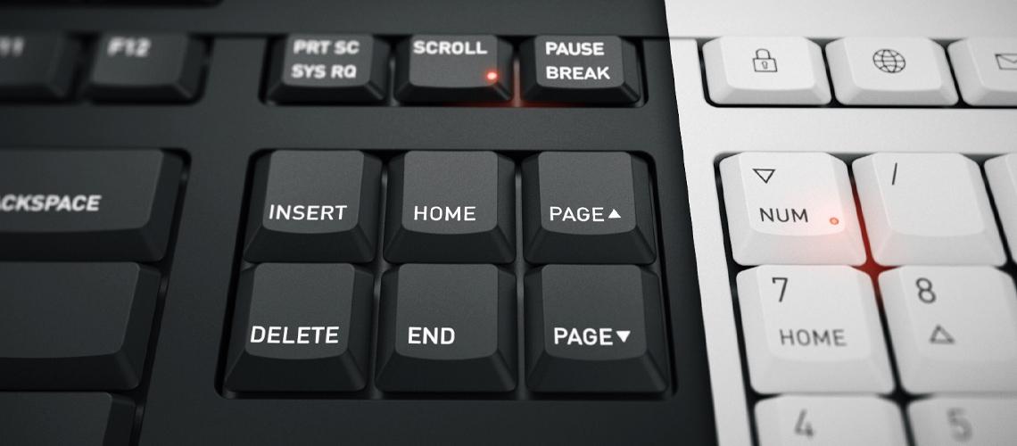 Die Tastatur mit 3 integrierten Statusanzeigen CHERRY JK8500DE0 GRAU WEISS DE
