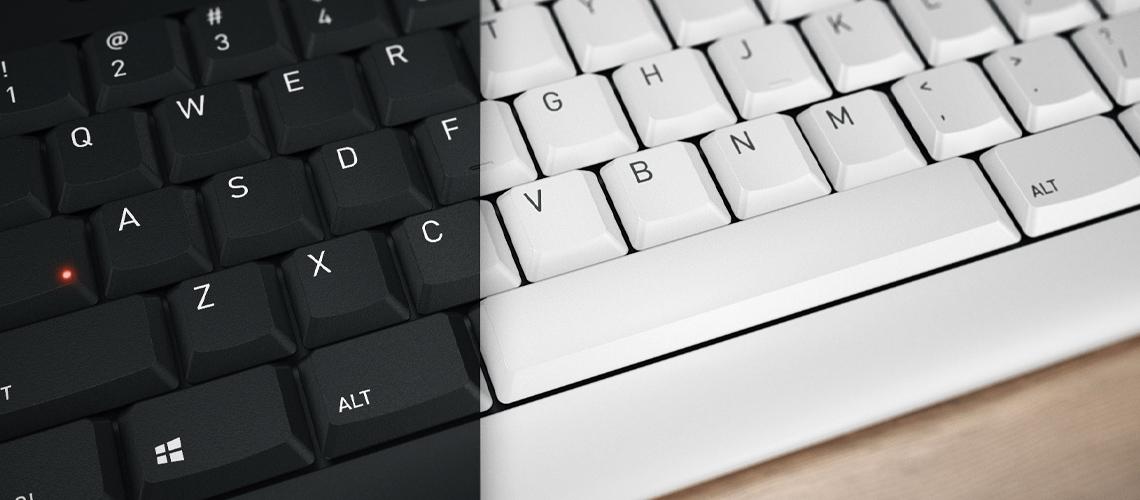 Die Tastatur mit Aufzeichnung Blauer Engel CHERRY JK8500DE0 GRAU WEISS DE