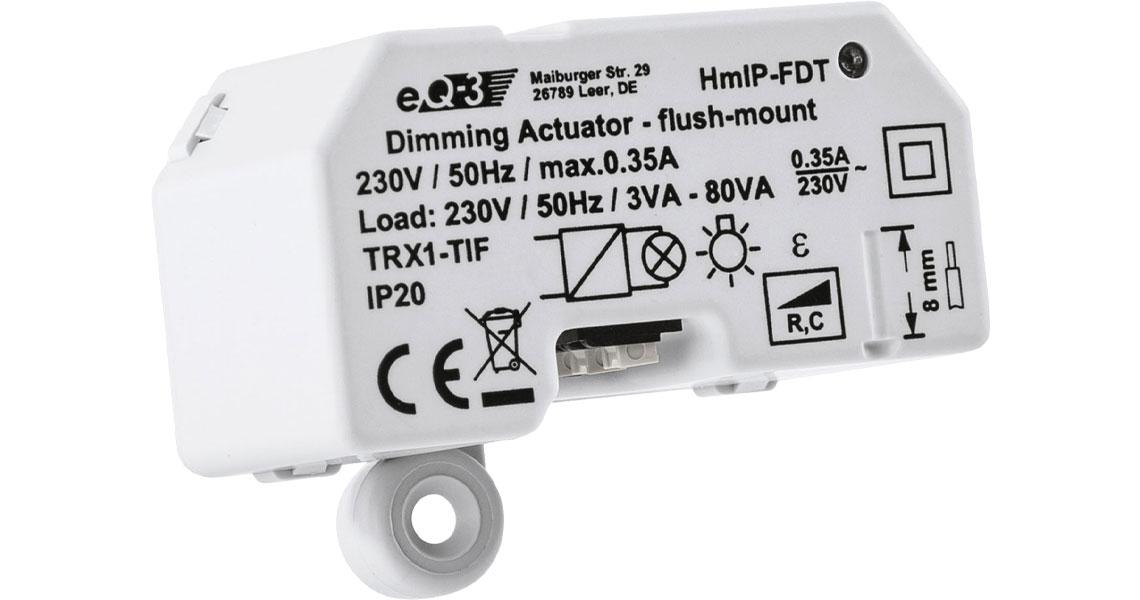 Möglichkeit der Steuerung von dimmbaren Leuchten mit dem Dimmaktor Homematic IP Unterputz Phasenabschnitt 150609A0