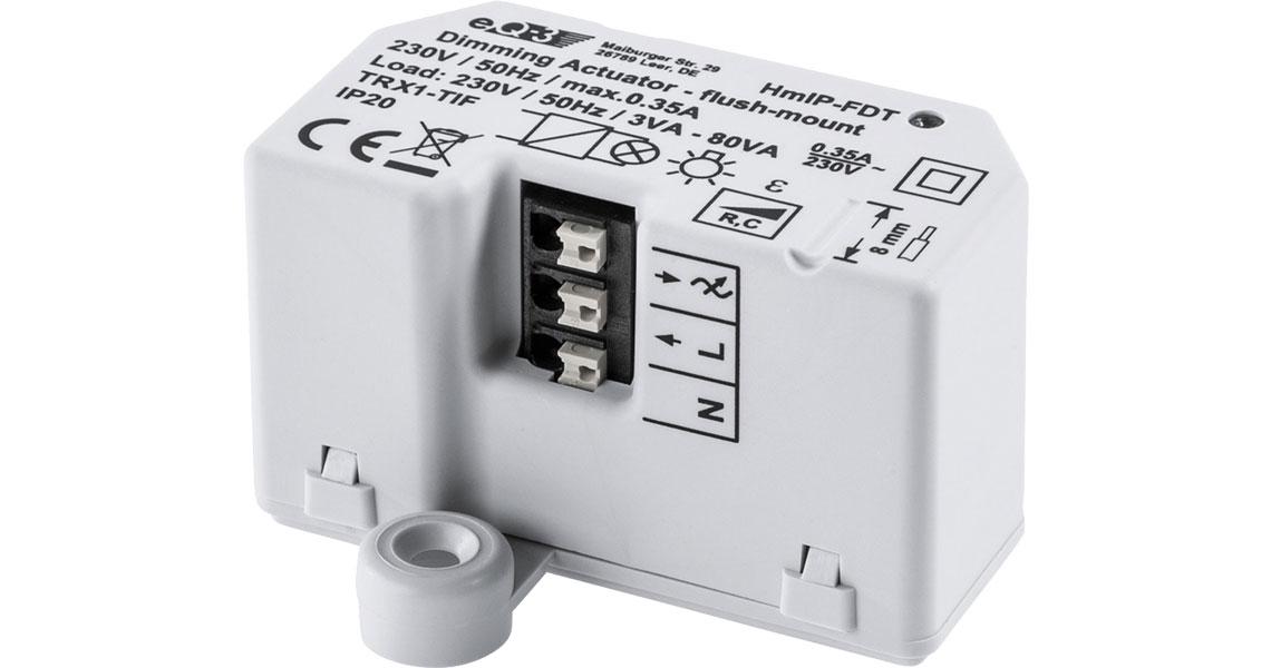Stufenloses Dimmen und Schalten der angeschlossenen Leuchte mit dem Dimmaktor Homematic IP Dimmaktor Unterputz Phasenabschnitt 150609A0