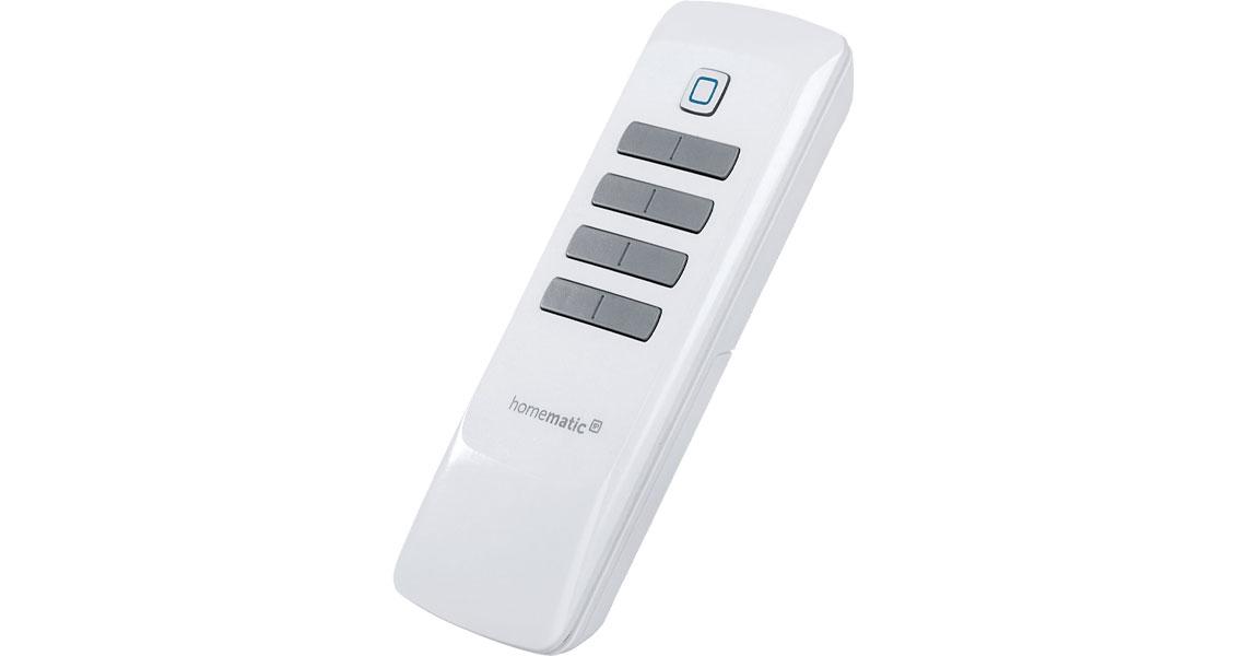 Die Fernbedienung mit vier Tastenpaaren für Steuerung von Geräten und Systemfunktionen im Homematic IP Smart Home 8 Tasten 142307A0