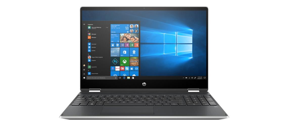 Das Notebook mit 360 Grad Scharnier HP Pavilion x360 15,6 Zoll Full HD Touch i5 10210U 256GB SSD Intel Optane Win 10 Home natural silver