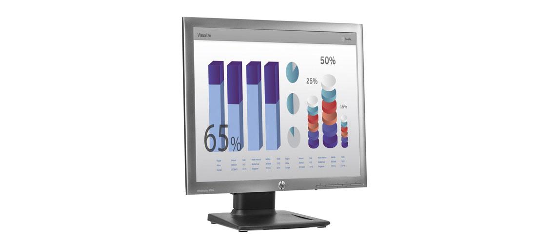 VGA und DisplayPort Anschlüsse mit dem Bildschirm HP EliteDisplay E190i 48,3 cm 19 Zoll TFT