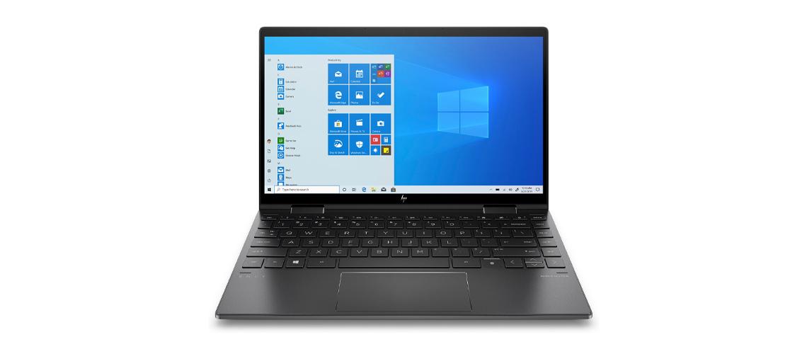 Das Notebook mit hackersicherem Kamera Verschluss und Taste zum Stummschalten des Mikrofons HP Envy x360 13,3 Zoll Full HD Touch Display Ryzen 5 4500U 8GB 1TB SSD Win 10 Home nightfall black