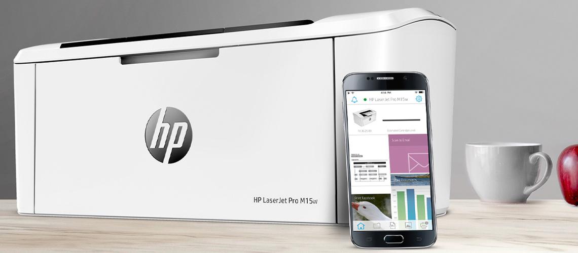 Drucken über Smartphones und Tablets mit dem Drucker HP LaserJet Pro M15w S/W
