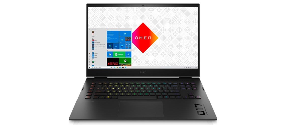 Die Konstruktion des Laptops OMEN 17 cb1273ng 17,3 Zoll Full HD i7 10750H 1TB HDD 512GB SSD RTX 2070 Win 10 Home night black