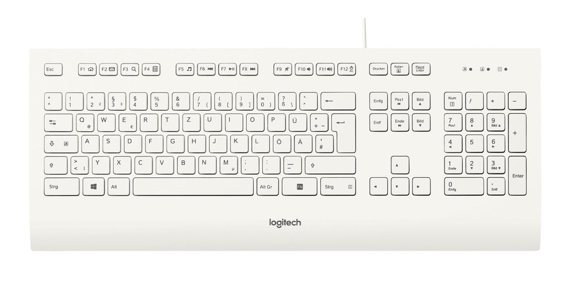 Die Tastatur mit der Handballenauflage LOGITECH K280e Corded Keyboard Weiss DE Layout QWERTZ