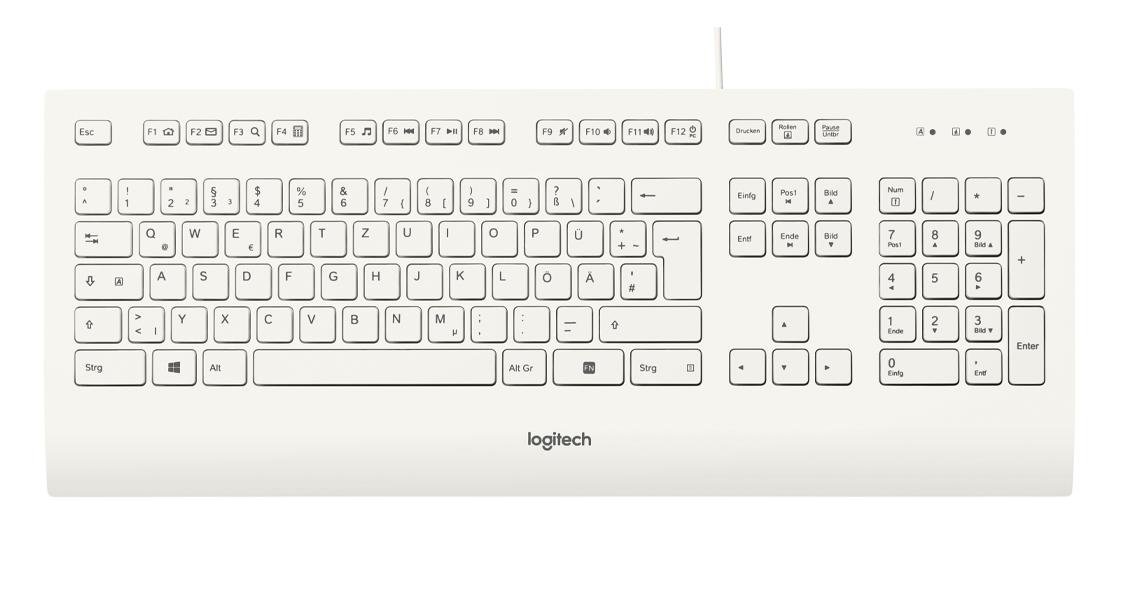 Die Tastatur mit der USB Plug Play Einrichtung LOGITECH K280e Corded Keyboard Weiss DE Layout QWERTZ