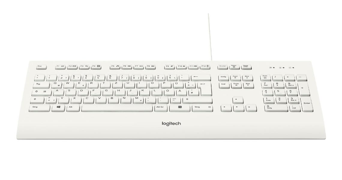 Die Tasten ausklappbare Füße und Tastaturhöhe LOGITECH K280e Corded Keyboard Weiss DE Layout QWERTZ