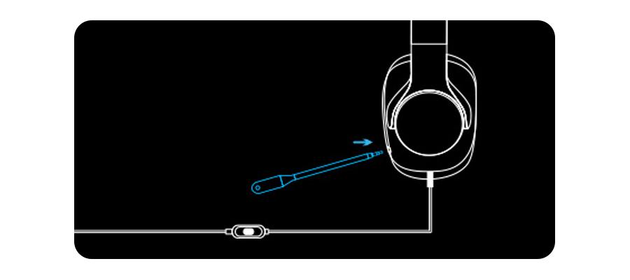 Abnehmbares Bügelmikrofon und austauschbare Kabel