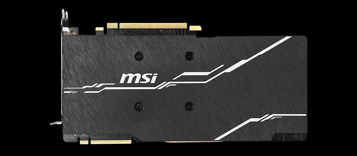 Die Grafikkarte mit der Backplatte MSI Geforce RTX 2070 SUPER VENTUS OC 8GB GDDR6