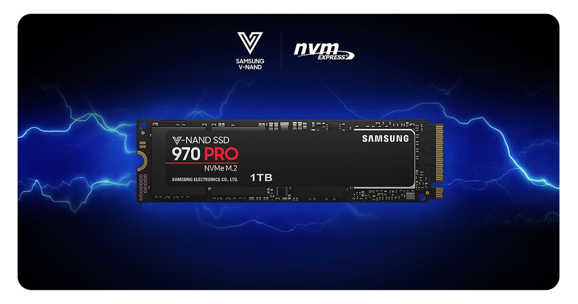 Die Festplatte mit der V-NAND Speichertechnologie SAMSUNG SSD 970 PRO PCIe x4 NVMe 512 GB