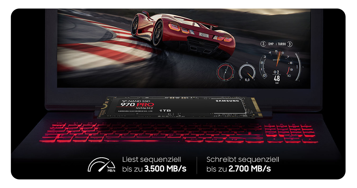 Die Leistung der Festplatte SAMSUNG SSD 970 PRO PCIe x4 NVMe 512 GB