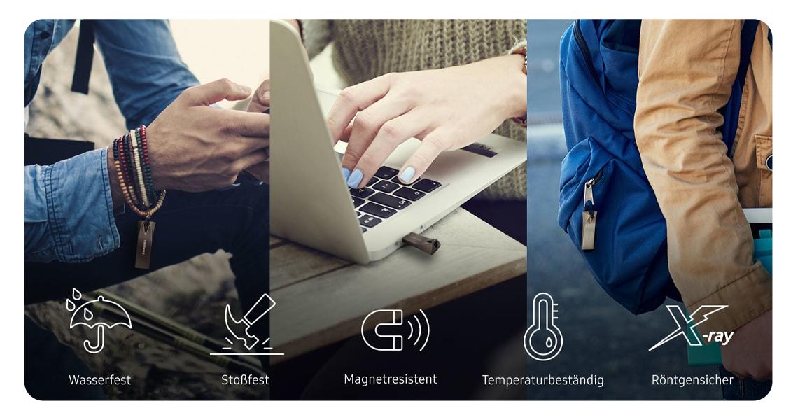 Schutz von Daten mit dem USB Stick Samsung BAR Plus 32 GB Grau MUF 32BE4/EU