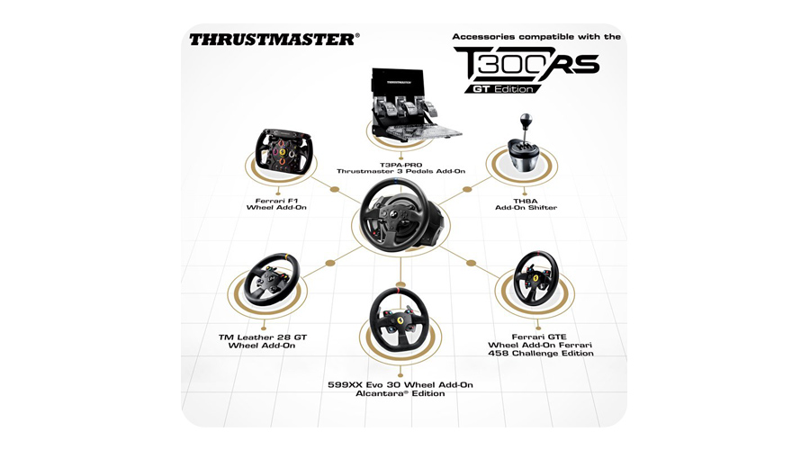 Das Lenkrad mit Eco System THRUSTMASTER T300 RS GT Edition PC PS