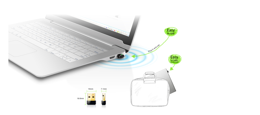 Der Adapter im Nano Format TP Link WLAN Nano USB TL WN725N v2.1 / v2.2
