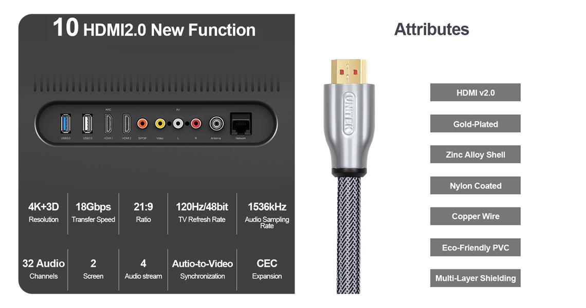 Unitek-Kabel HDMI v2.0
