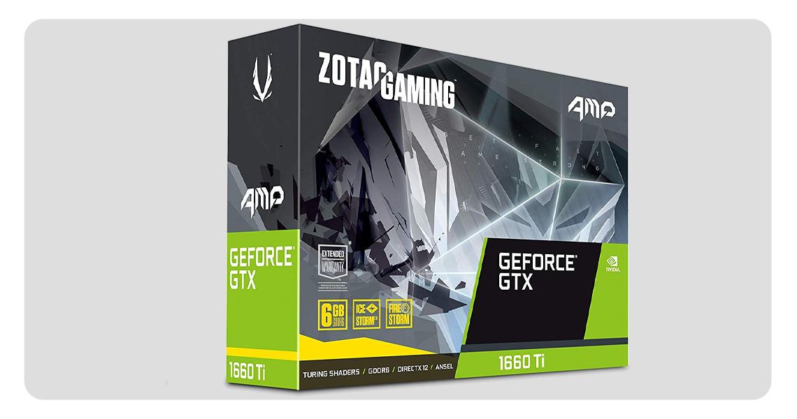 Statischer Druck optimiertes Design der Grafikkarte ZOTAC GeForce GTX 1660 TI AMP EDITION ZT-T16610D-10M